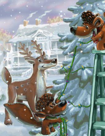Tête de noix décore son sapin avec ses amis!